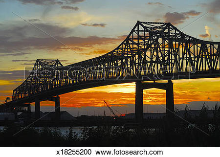 Stock Photography of Mississippi River Bridge at Sunset x18255200.