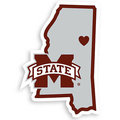 MISSISSIPPI STATE BULLDOGS state shape logo with heart vinyl.