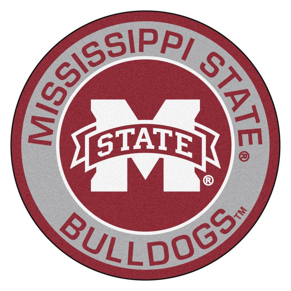 FANMATS NCAA Mississippi State University Gray 2 ft. x 2 ft. Round Area Rug.