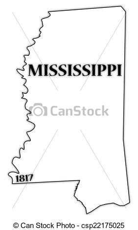 Vector Illustration of Mississippi State and Date.