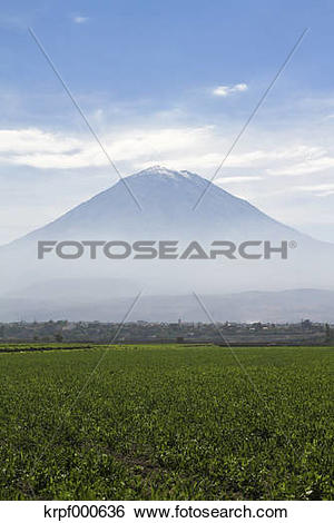 Stock Images of South America, Peru, Volcano Misti near Arequipa.