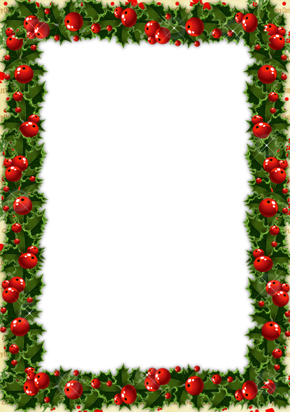 Transparent Christmas Photo Frame with Mistletoe.