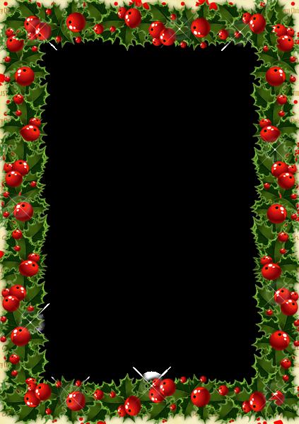 Transparent Christmas Photo Frame with Mistletoe.