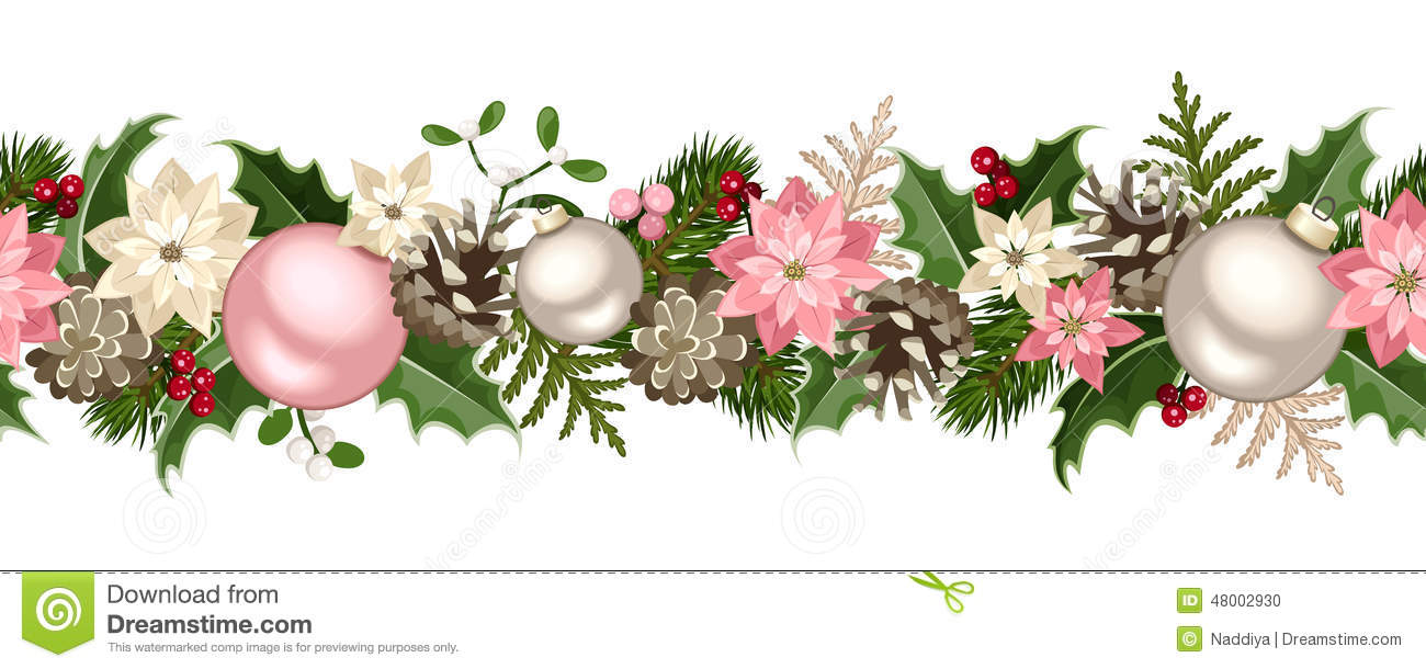 Christmas Seamless Garland With Fir Branches, Pink And.
