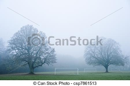 Stock Photos of Football soccer pitch on foggy misty morning in.