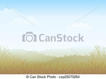 Clip Art Vector of Misty Morning Meadow.