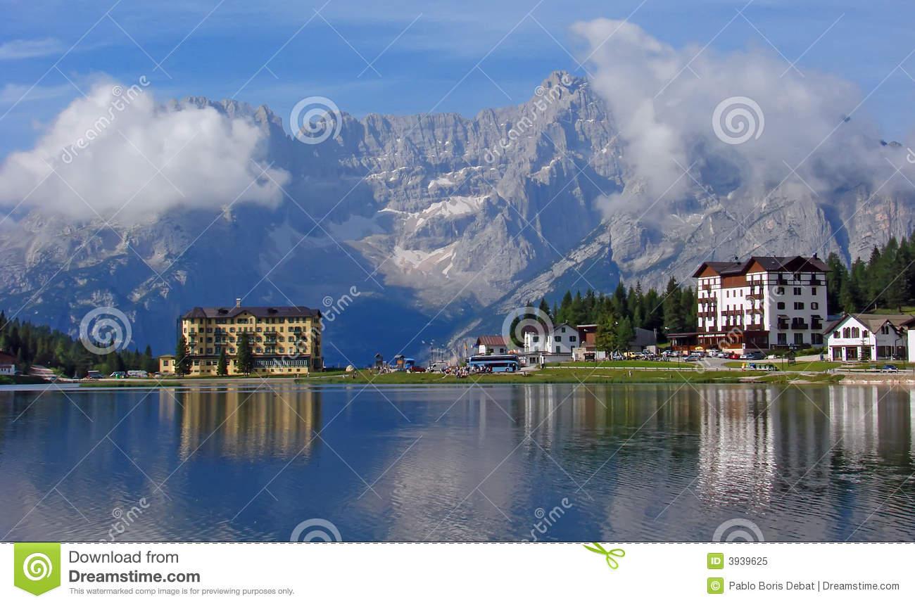 Hotel And Lake At Misurina Royalty Free Stock Photo.