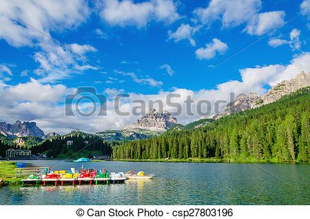 Stock Photographs of Colored pedalos on Lake Misurina, Dolomites.