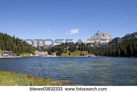 """Stock Photo of """"Tre Cime di Lavaredo, Sexten Dolomites, Lake."""