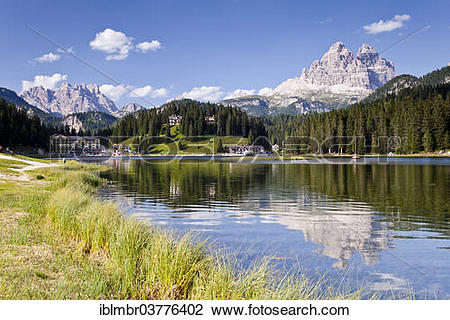 "Stock Photo of ""Lake Misurina or Lago de MeÅ›orina, in front of."