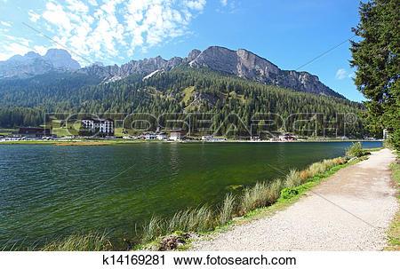 Stock Photography of Lake Misurina in Italy mountain dolomites.