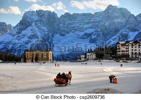 Stock Image of Misurina Lake at Christmas, Italy.