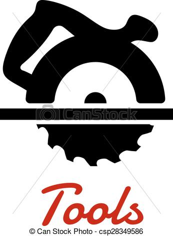 Vector of Miter saw with handle black silhouette.
