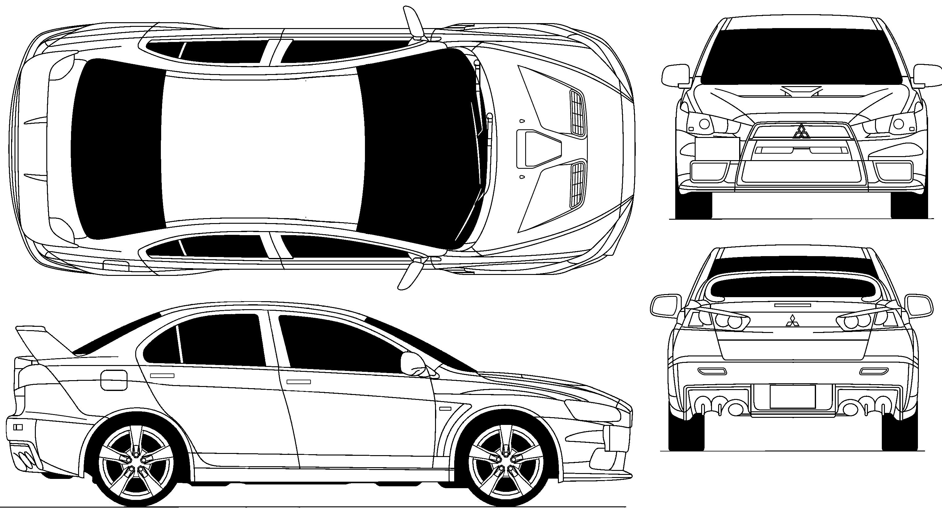 Mitsubishi Lancer Evolution Clipart.