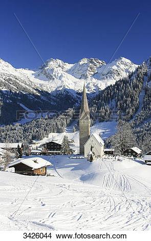 Stock Photo of Parish Church Saint Jodal, Mittelberg, Vorarlberg.
