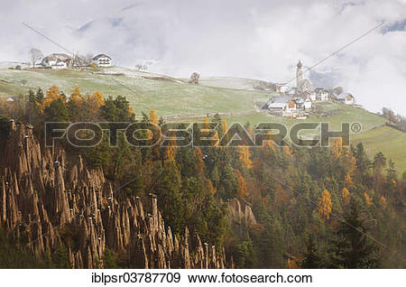 """Stock Photograph of """"Church of St. Nicholas in Mittelberg at Renon."""