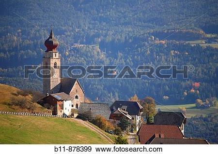 Stock Photograph of church St Nikolaus near Mittelberg infront of.