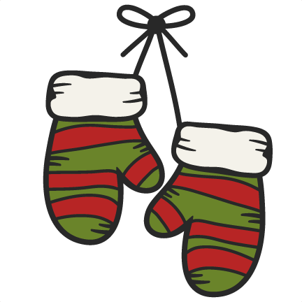 Large hanging mittens clip art.