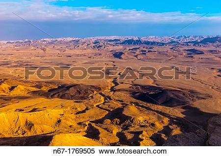 Stock Image of View from Mitzpe Ramon to the Negev Desert, Israel.