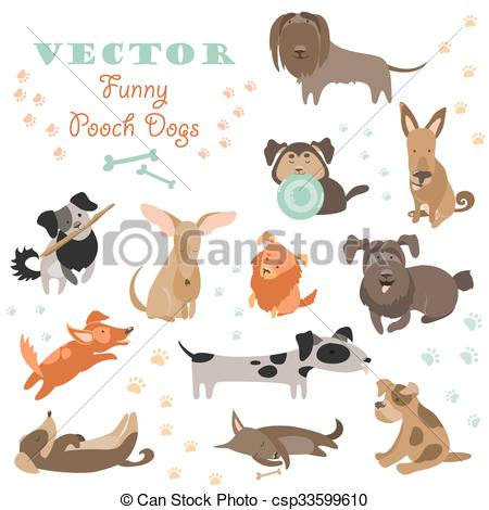 Vector Clip Art of Set of funny Mixed Breed dogs. Vector isolated.