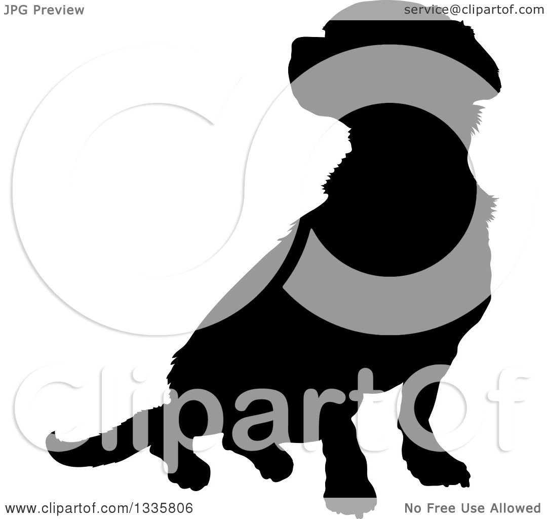 Clipart of a Black Silhouetted Mixed Breed Puppy Dog Sitting.