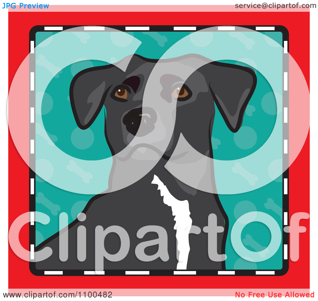 Clipart Folk Art Styled Mixed Breed Dog Looking Out Through A Red.