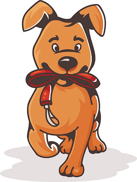 Clip Art Of A Cute Hairy Mixed Breed Dog Clip Art, Vector Images.