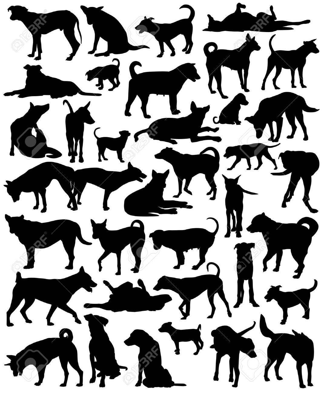 Free Clipart Mixed Breed Dog Silhouette.