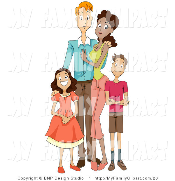 Clip Art of a Happy Mixed Race Family of Four, Posing for a.