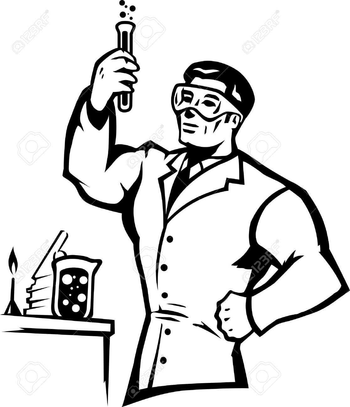 Stylized scientist mixing chemicals in a bold way..