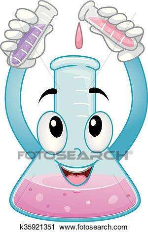 Mascot Chemistry Cylinder Showing Mix Chemicals Clipart.
