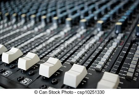 Stock Photos of Audio Engineer Mixing Board.