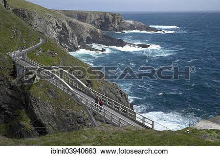 "Stock Photo of ""Cliffs with suspension bridge, Mizen Head, most."
