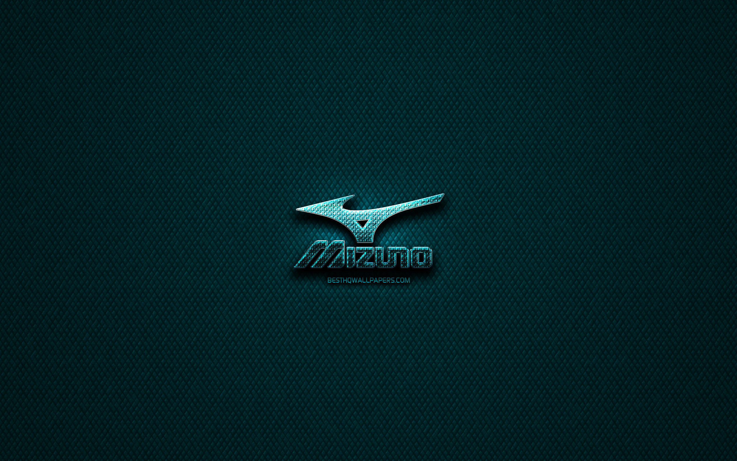 Download wallpapers Mizuno glitter logo, creative, blue.