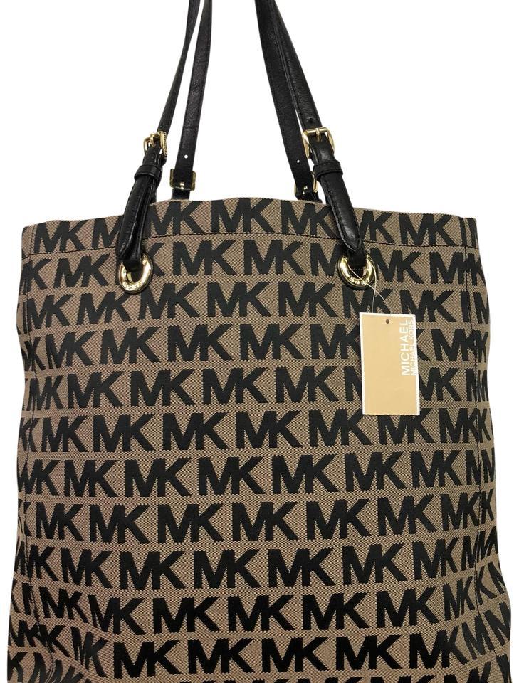 Michael Kors Signature Mk Logo Jacquard Beige and Black Tote 13% off retail.