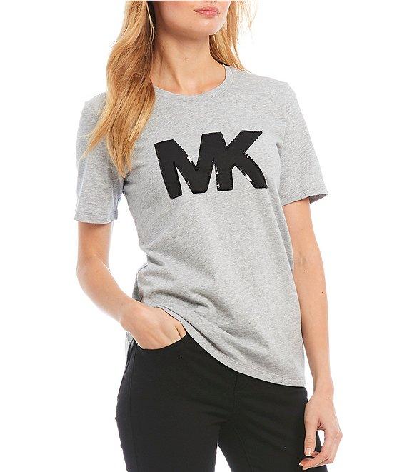 MICHAEL Michael Kors Knit Jersey Sequin MK Logo Tee.