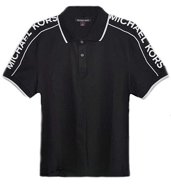 Michael Kors Mens MK Logo 100% Cotton Black Polo Shirt.