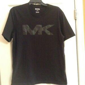 Details about $59.50 MK MICHAEL KORS MEN\'S BLACK M MK LOGO SHORT SLEEVE  T.