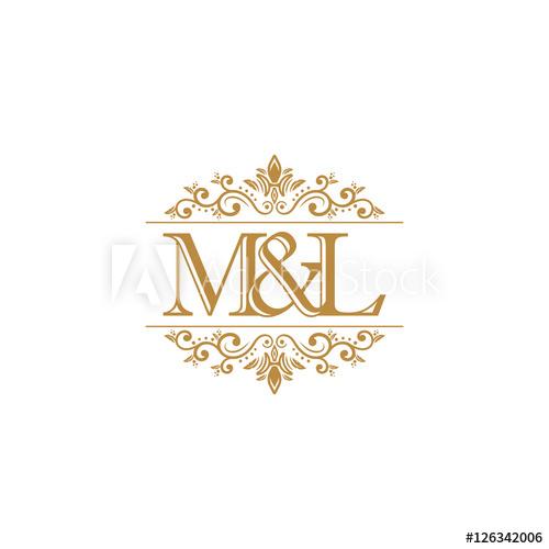 M&L Initial logo. Ornament gold.