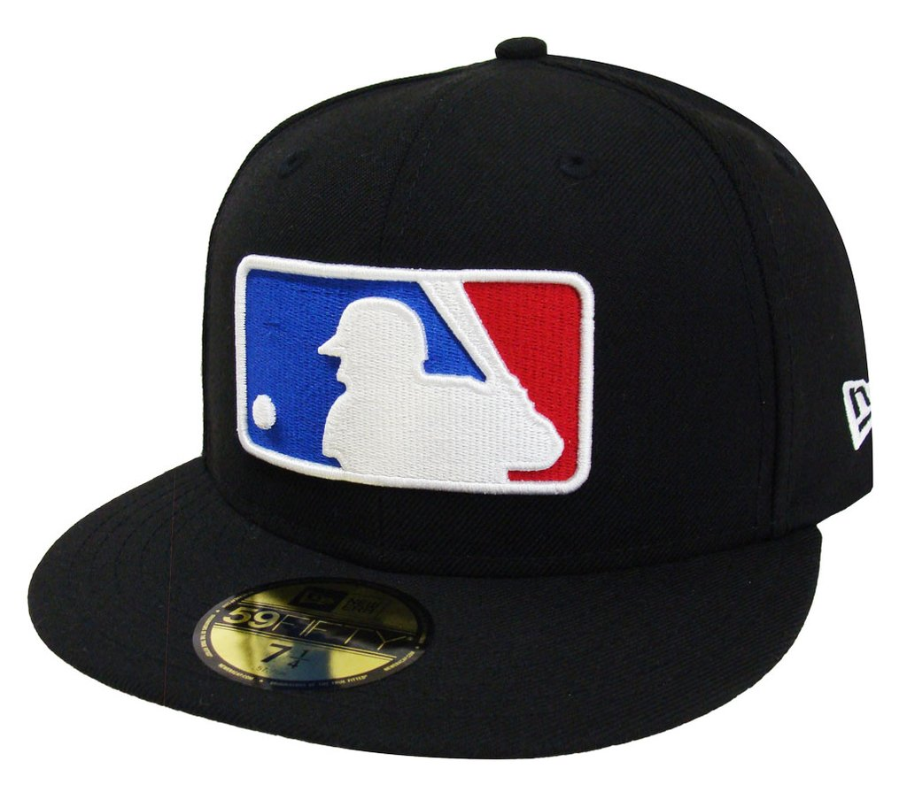 Major League Baseball MLB Fitted Logo New Era Cap Hat Black.