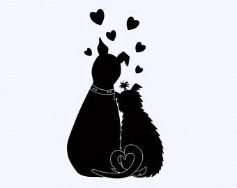 Valentines clipart, love clipart, Dog clipart, Bulldog, vector.