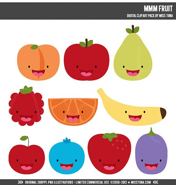Mmm Fruit Digital Clipart Clip Art Illustrations.