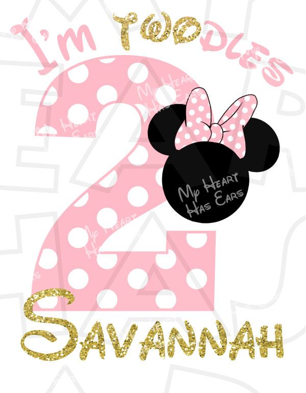 Minnie Mouse I\'m Twodles light pink gold 2nd birthday.