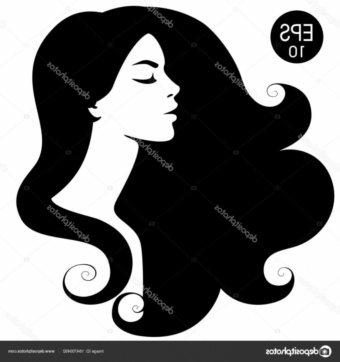 Stock Illustration Womans Black Silhouette Vector Fashion.
