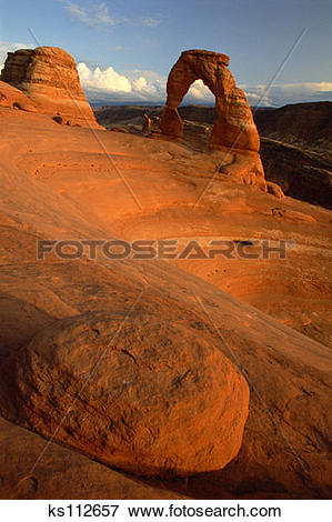 Picture of Delicate Arch at sunset, Arches National Park, near.