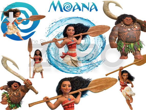 15 Disney Moana, Digital Clipart With Mirror Files, Instant.