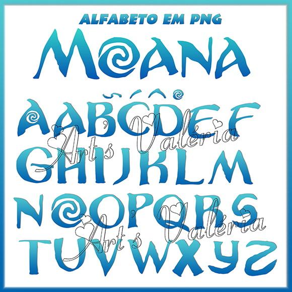 Alfabeto Azul Moana em PNG.