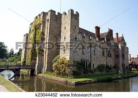 Stock Photo of moated castle, Kent, England k23044452.