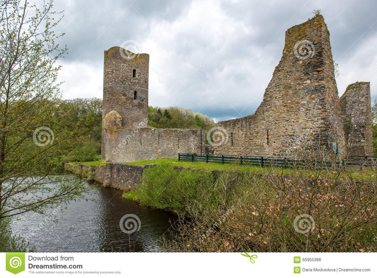 Moated Castle, Wasserburg Baldenau, Germany Stock Photo.