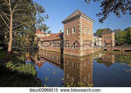 """Stock Image of """"Velen Castle, moated castle, Velen, Munsterland."""